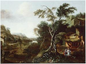 Landschap met Tobias en de engel op weg naar Ekbatana (Tobit 4-6)