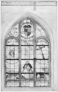 Venster met het portret van Ghisbertus (Gijsbertus) Masius (1546-1614) in de Sint-Pieterskerk te Den Bosch