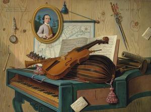 Stilleven met een viool, een guitaar, een trompet, een hobo op een klavecimbel voor een muur met een portret, een horloge, een kaart en andere objecten