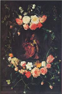 Anna leert Maria lezen omgeven door een cartouche versierd met bloemguirlandes