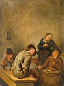 Rokende en drinkende boeren met een dienstmeid in een herberg