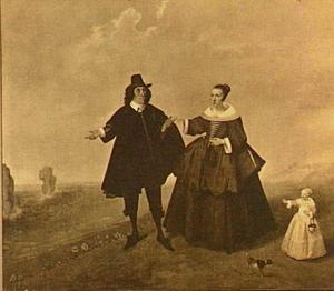 Portret van een echtpaar met kind in een strandgezicht, leden van de familie Van Berensteyn