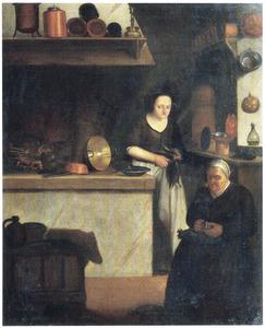 Keukeninterieur met een oude en een jonge vrouw