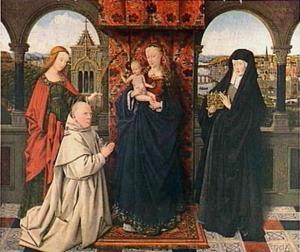 Groepsportret van Maria met Christus, de H. Elisabeth van Hongarije (1207-1231), de H. Barbara (?-?) en de karthuizer Jan Vos (?-?)