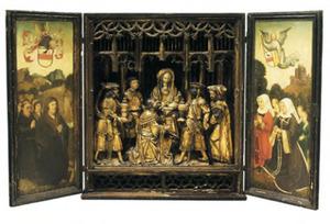 De aanbidding van de Wijzen (midden) en stichtersportretten van de familie Dymudts uit Vlaanderen (links en rechts)