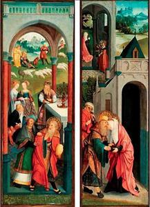 De ontmoeting van Joachim en Anna bij de gouden poort; Het offer van Joachim wordt geweigerd door de priester