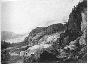 Berglandschap met vier ruiters en twee bedelaars