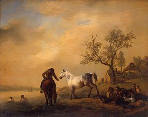 Landschap met twee paarden, zwemmers en rustende boeren bij een drenkplaats