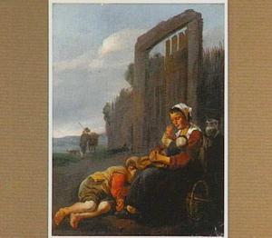 Zuidelijk landschap met moeder met kind en slapende jongen