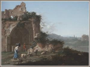 Zuidelijk landschap met een een vracht torsende vrouw en een geitenhoeder bij een ruïne