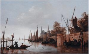 Rivierlandschap met schepen bij een aanlegplaats onder de stadswallen