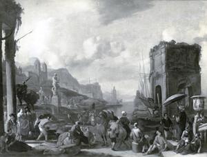 Zuidelijk havengezicht met antieke ruïnes