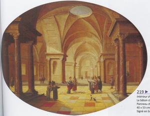 Interieur van een kerk met Mozes en Aäron, die de staf van farao in een slang veranderen (Exodus 7:10)
