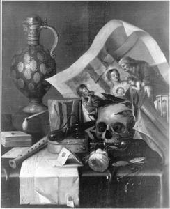 Vanitasstilleven met prent, steengoed kan en schedel