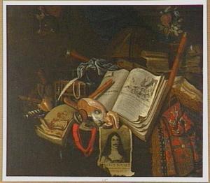 Vanitasstilleven met een prent van Karel II van Engeland (1630-1685)