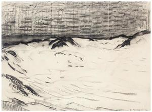 Drawing for pointillist study with dunes and sea