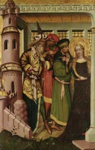 H. Barbara wordt naar de toren gebracht