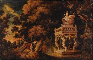 Boslandschap met Theseus op de weg naar Athene