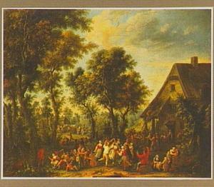 Feestvierende dorpelingen voor een herberg