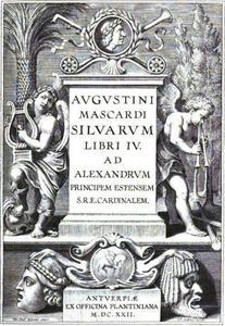 Titelpagina voor A. Mascardi, Silvarium Libri IV, Antwerpen 1622