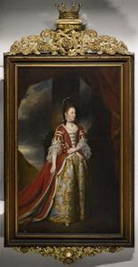Portret van Mary Christina Conquest, Lady Arundell of Wardour, in haar kroningsgewaad