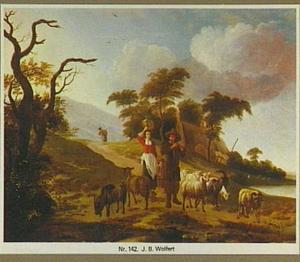 Landschap met herder en herderin onderweg