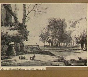 Boomrijk landschap met rivier en geiten