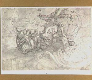De discipelen maken Christus wakker tijdens de storm op het Meer van Galilea (Matheüs 8:23-25)
