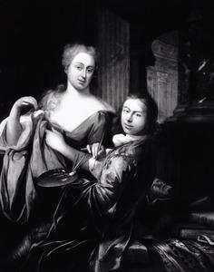 Portret van Adriaan van der Burg (1693-1733) en een vrouw, mogelijk Cornelia Driewegen (...-...)