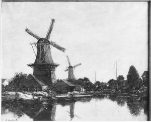 Molens aan kanaal in de omgeving van Dordrecht