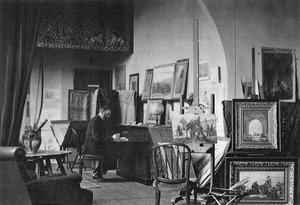Marius Bauer in zijn atelier te Aerdenhout
