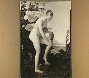 Naakt jong meisje met een zalfpot temidden van bloemen