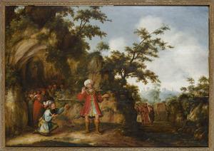 David toont Saul de afgesneden slip van zijn mantel (1 Samuël 24: 12)