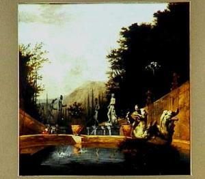 Twee figuren bij een fontein in een zuidelijk landschap