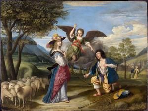 De eerste ontmoeting van Jacob en Rachel bij de bron (Genesis 29: 9-10)