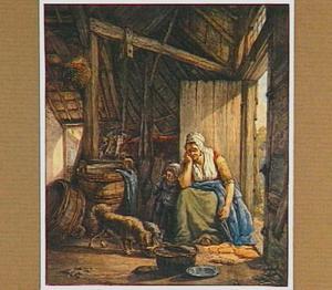 Boerenschuur met boerin en kind