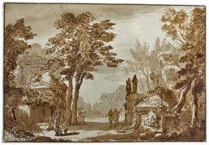 Parklandschap met tombes en fontein
