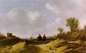 Duinlandschap met ruiters, wagen en boerderij