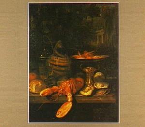 Stilleven met oesters, garnalen en kreeft
