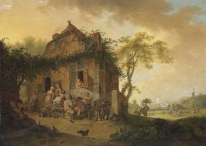 Landschap met drinkende boeren voor een ruïne
