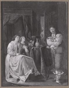 Drie slapende vrouwen en een jonge man in een interieur
