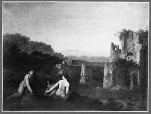 Landschap met badende figuren bij een ruïne