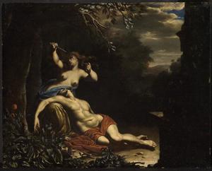Thisbe bij het dode lichaam van Pyramus