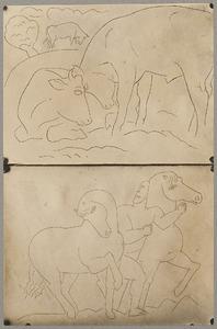 Twee kleine tekeningen met koeien en paarden