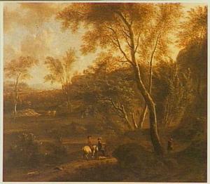 Zuidelijk landschap met jagers en honden