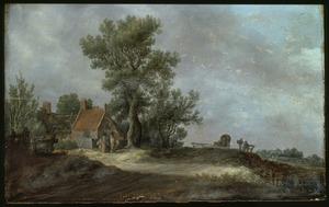 Landschap met figuren voor een vervallen boerderij