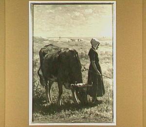 Meisje met een koe op een weide