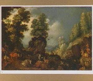Rotslandschap met vee rustend onder bomen, rechts twee herten