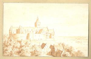 Het Valkhof gezien van uit het oosten met de huizen onder aan de Belvedère