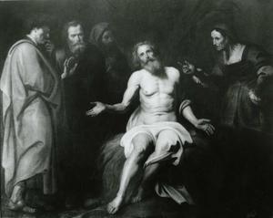 Job op de proef gesteld tussen zijn scheldende vrouw en drie vrienden (Job 1-42)